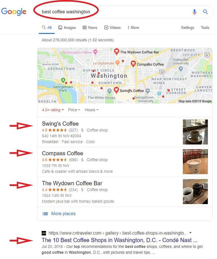 Local SEO Services-Google maps-exampe
